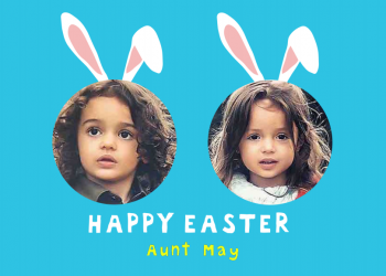 Happy Easter face-in-the-hole personalised greeting cards